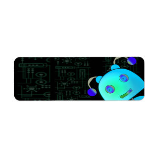 Adorable Peek A Boo Blue Robot Birthday Return Address Label