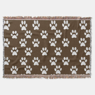 Adorable Pet Paw Prints Pattern Throw Blanket