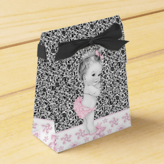 Adorable Pink and Black Baby Shower Favor Boxes Wedding Favour Box