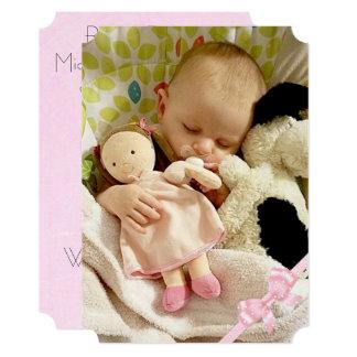 Adorable Pink Baby Girl Announcment Card
