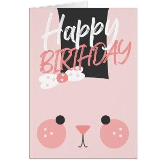 Adorable Pink Bunny Happy Birthday Card