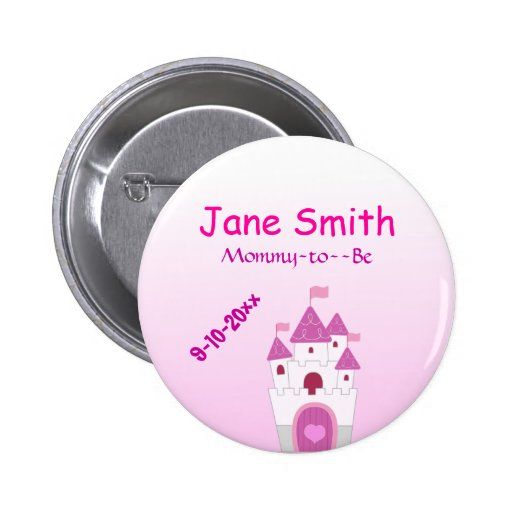 Adorable Pink Castle Mommy-to-Be Baby Shower Button
