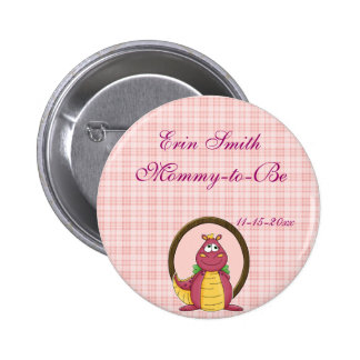 Adorable Pink Dragon on Pink Plaid Baby Shower Button