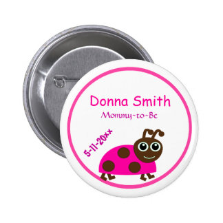 Adorable Pink Ladybug Mommy-to-Be Baby Shower 6 Cm Round Badge