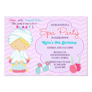 Adorable Pink Purple Spa Pampering Birthday Party 13 Cm X 18 Cm Invitation Card