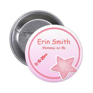 Adorable Pink Star, Mommy-to-Be Baby Shower 6 Cm Round Badge