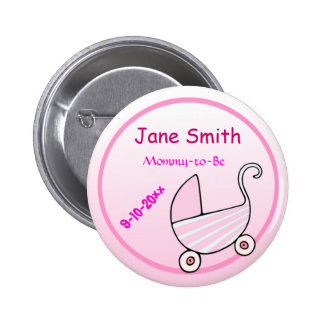 Adorable Pink Stroller Mommy-to-Be Baby Shower 6 Cm Round Badge