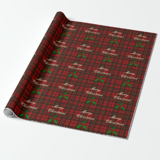 Adorable Red Christmas tartan look with Holly twig Wrapping Paper