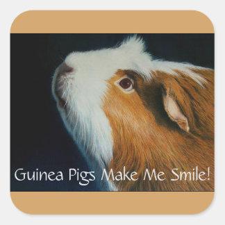 Adorable Square Guinea Pig Stickers