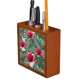 Adorable Tropical Palm Hawaiian Hibiskus Desk Organiser