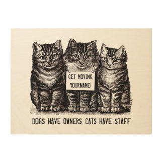Adorable Vintage Cats Have Staff Kitten Trio Funny Wood Wall Art