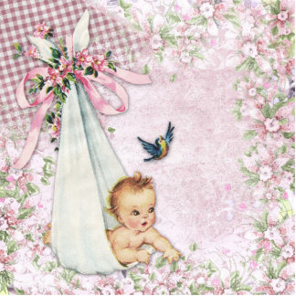 Adorable Vintage Pink Baby Girl Shower Standing Photo Sculpture
