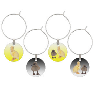 Adorable Yellow and Grey Duckling Photographs Wine Charm