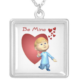 Adorable Young Man With Engagement Ring Caricature Square Pendant Necklace