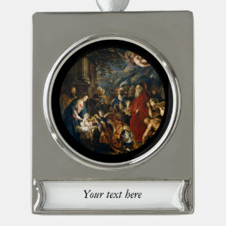 Adoration of the Kings by Ruben Silver Plated Banner Ornament