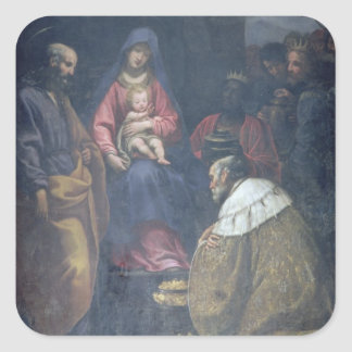 Adoration of the Magi, 1629 (oil on canvas) Square Sticker