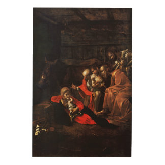 Adoration of the Shepherds by Caravaggio (1609) Wood Prints