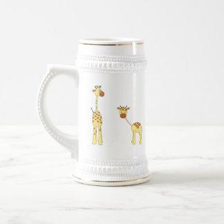 Adult and Baby Giraffe. Cartoon Beer Steins