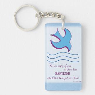 Adult Baptism Dove on Blue Double-Sided Rectangular Acrylic Key Ring
