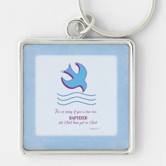 Adult Baptism Dove on Blue Silver-Colored Square Key Ring