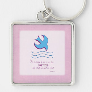Adult Baptism Dove on Pink Key Chain
