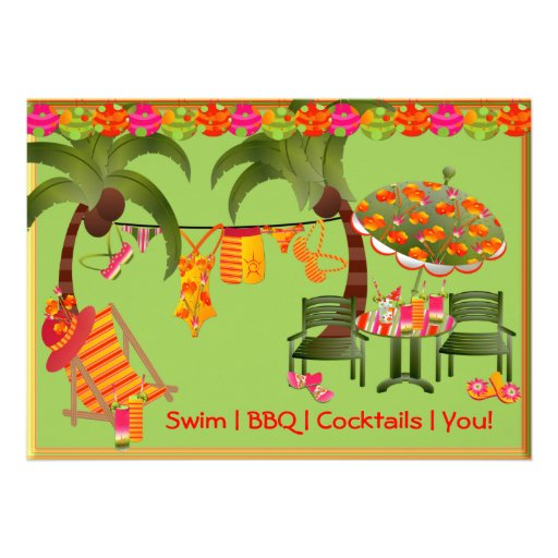 Adult Pool Party BBQ Cocktails Invitation