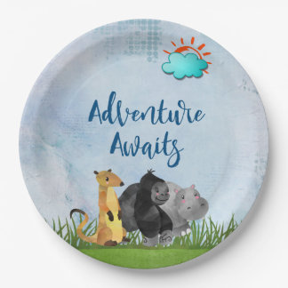 Adventure Awaits - Gorilla Hippo and Meerkat Paper Plate