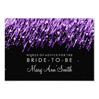 Advice Card Bridal Shower Purple Falling Stars