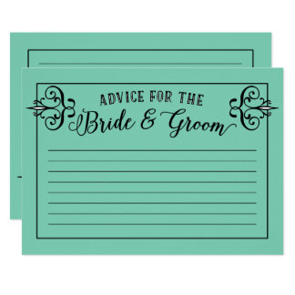 Advice Cards for the Bride and Groom Custom Colors