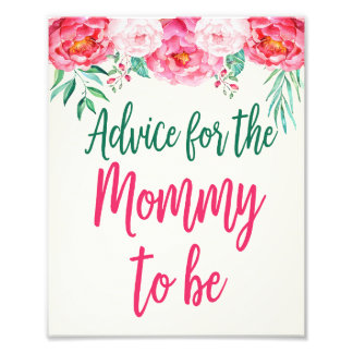 Advice for Mommy Sign, Floral Baby Shower, Floral Photo Print