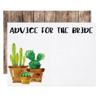 Advice for the Bride Rustic Cactus Card 9 Cm X 13 Cm Invitation Card