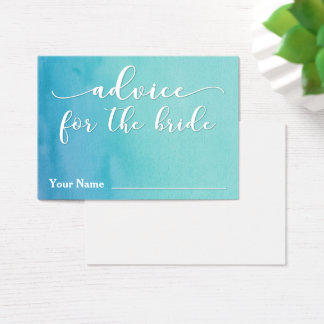 Advice for the Bride Teal & Blue Ombre Watercolor Business Card