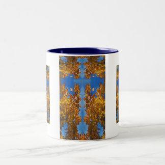 Aerial Blue Cross Mug, Two-Tone Coffee Mug