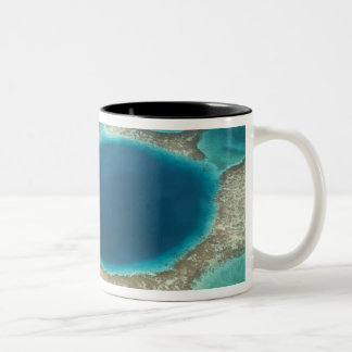 Aerial view of Blue Hole, sailboat anchored Two-Tone Coffee Mug