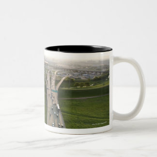 Aerial view of highway in Dallas, Texas Two-Tone Coffee Mug