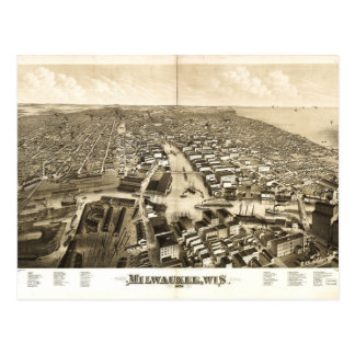 Aerial View of Milwaukee, Wisconsin (1879) Postcard