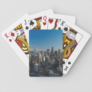 Aerial view of Seattle city skyline Playing Cards