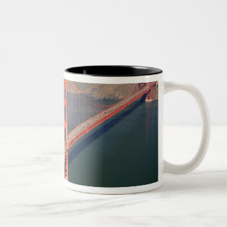 Aerial view of the Golden Gate Bridge in the 2 Two-Tone Coffee Mug