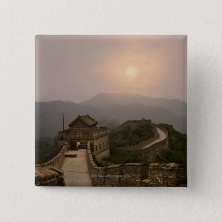 Aerial view of the Great Wall of China 15 Cm Square Badge