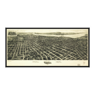 Aero view Map of Tulsa Oklahoma (1918) Canvas Print