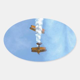 Aerobatic Biplanes Oval Sticker