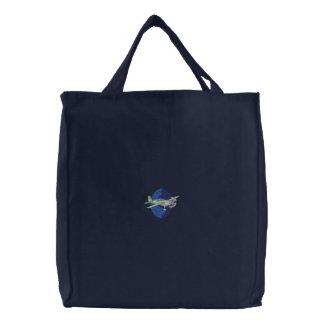Aerobatic Plane Embroidered Tote Bag