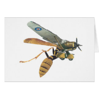 Aeroplane and Wasp Military Greeting Card