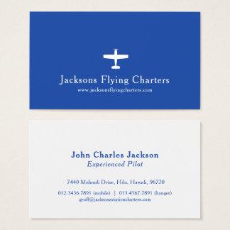Aeroplane white blue modern aviation business card