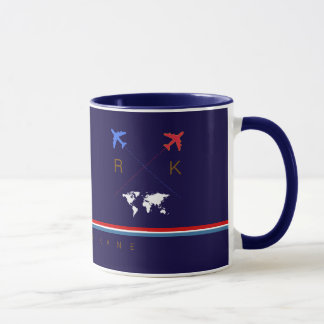 aeroplanes monogram, airline travel american blue mug
