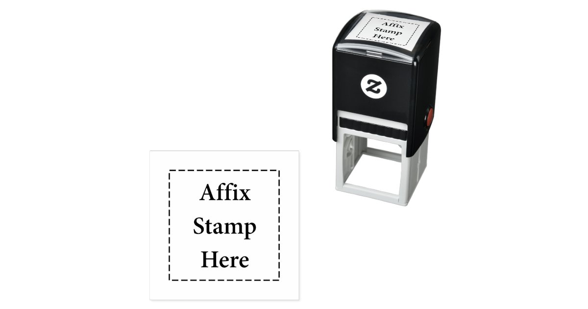 Affix Stamp Here Self Inking Rubber Stamp Zazzle