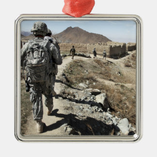 Afghan National Army and US soldiers Silver-Colored Square Decoration