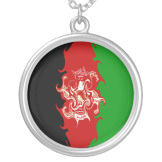Afghanistan Gnarly Flag Silver Plated Necklace