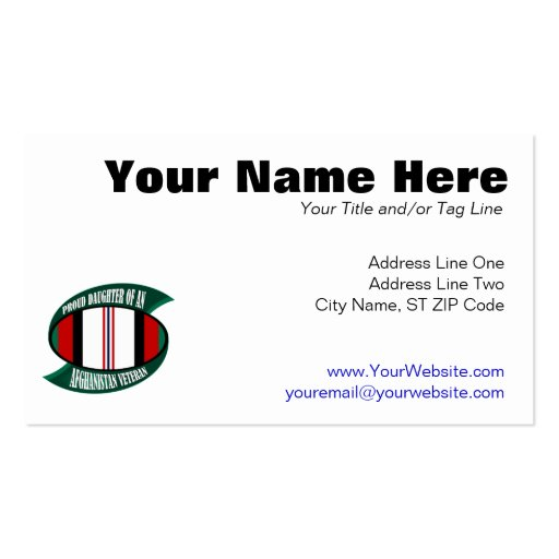 Afghanistan Vet Daughter Business Card Templates