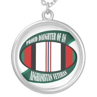 Afghanistan Vet Daughter Round Pendant Necklace